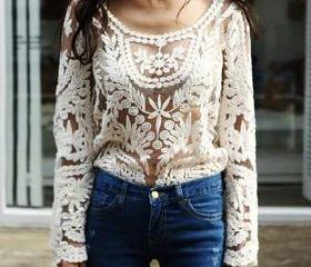 Women's Crochet Lace Solid Color Long Sleeve Shirt Loose Hollow Air Conditioning Shirts - Beige